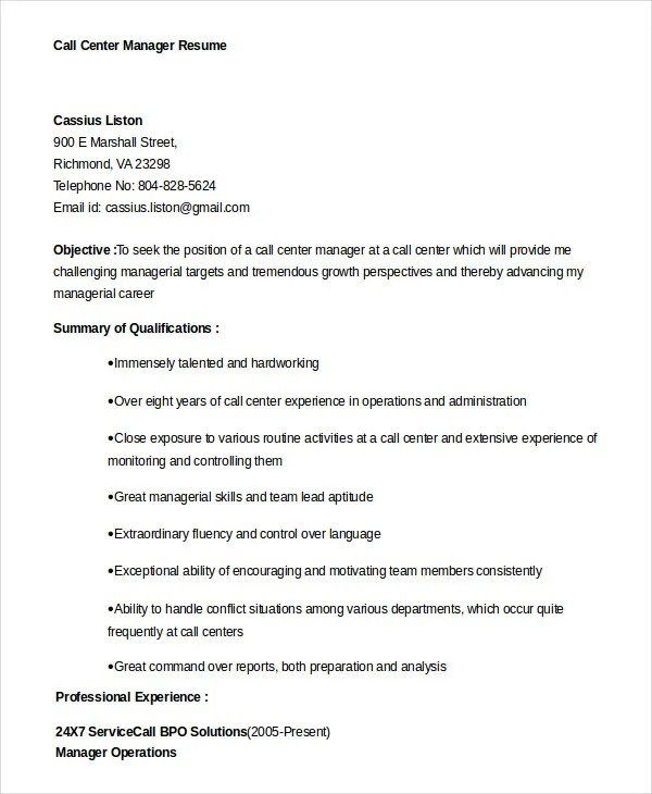 Call Center Resume Example - 9+ Free Word, PDF Documents Download