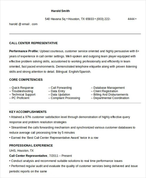 call center representative resumes - Onwebioinnovate - Callback Representative Resume