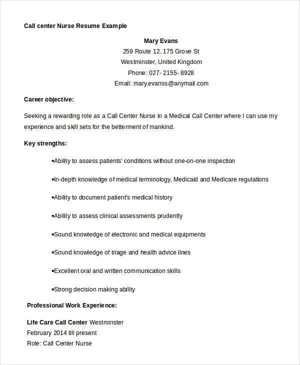 resume example for call center