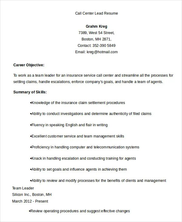 Team Lead Call Center Resume