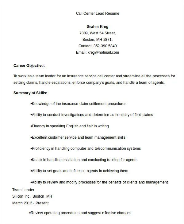 call center resume template free download