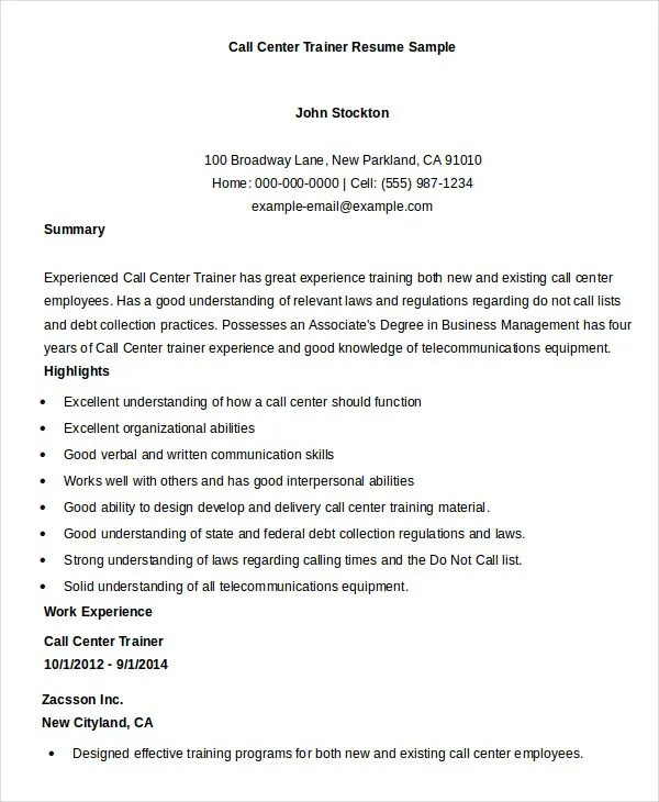 Call Center Resume Examples And Samples - Examples of Resumes - call center floor manager sample resume