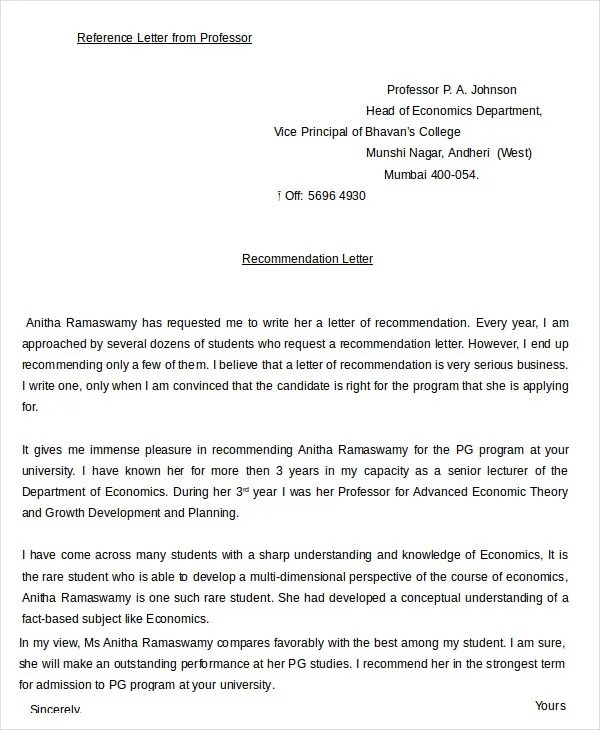 Professional Reference Letter - 12+ Free Sample, Example, Format - recommendation letter from professor