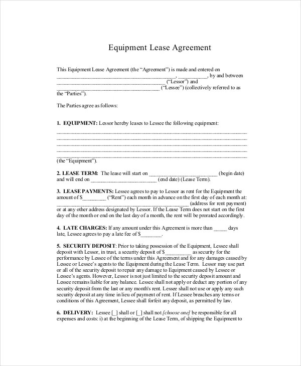 Standard Lease Agreement - 9+ Free PDF, Word Documents Download