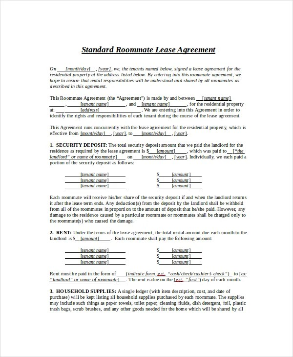 Standard Lease Agreement - 12+ Free PDF, Word Documents Download
