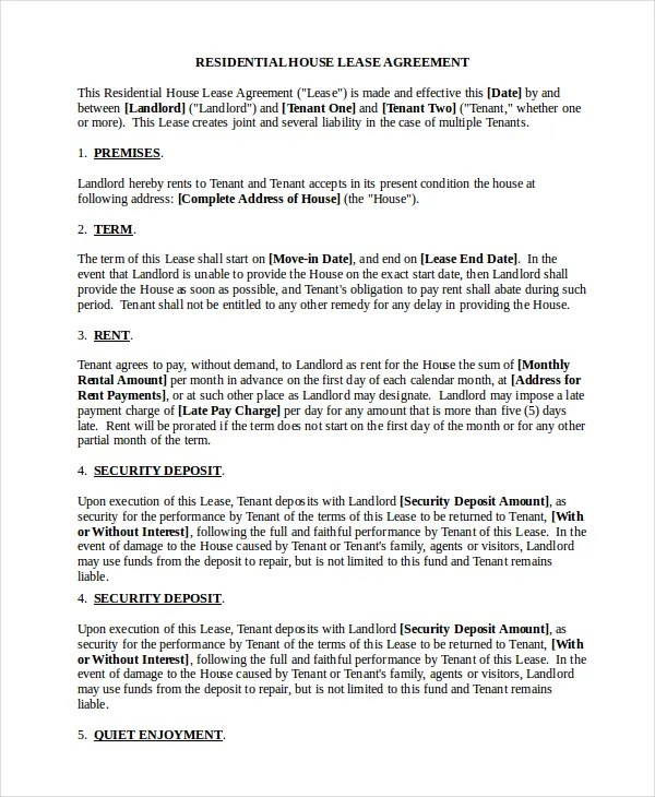 Standard Lease Agreement - 9+ Free PDF, Word Documents Download - standard lease agreement template