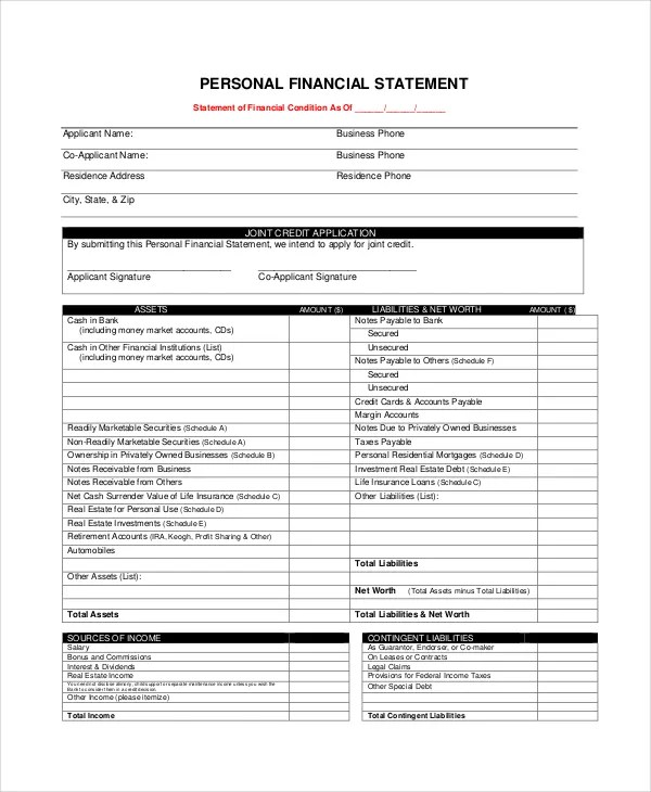 Financial Statement Form Fillable Personal Financial Statement Form - free statement forms