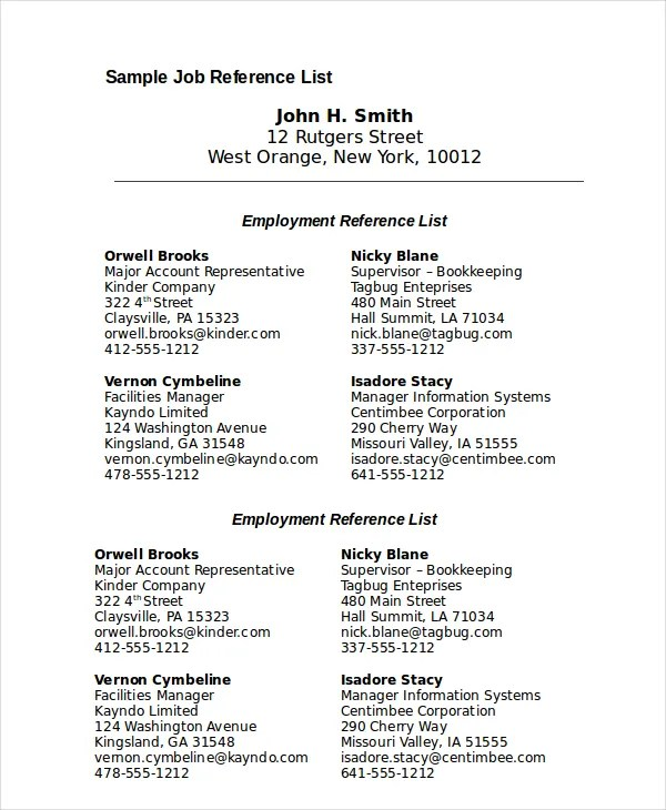Job Reference List