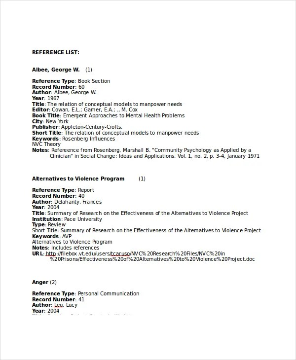 Reference Page Template Reference Template Resume Resume And - resume reference list template