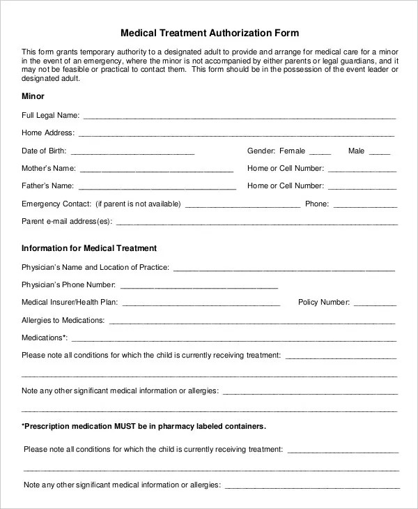 10+ Printable Medical Authorization Forms - PDF, DOC Free - blank medical forms