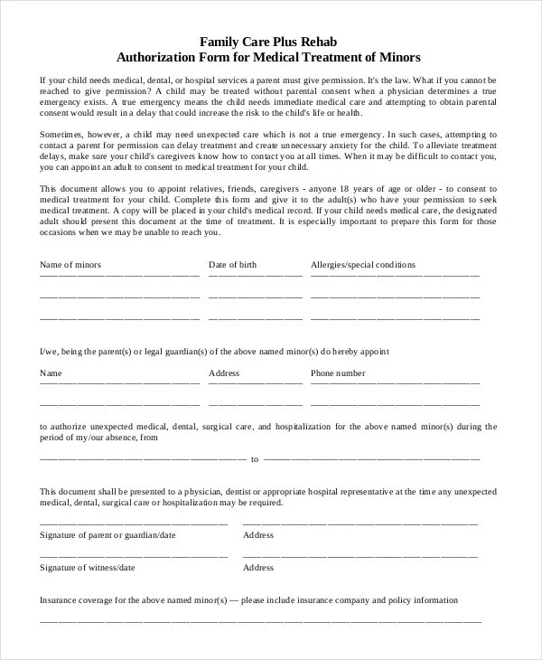 10+ Printable Medical Authorization Forms - PDF, DOC Free