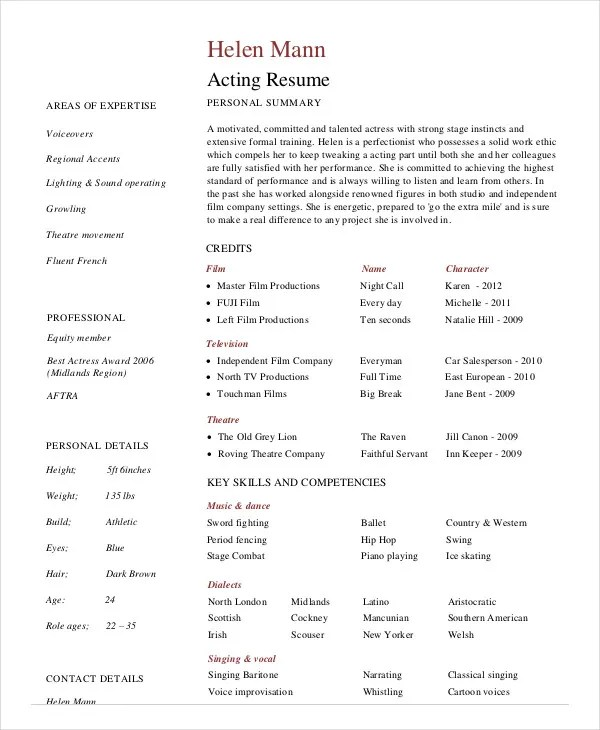 10+ Actor Resume Examples - PDF, DOC Free  Premium Templates