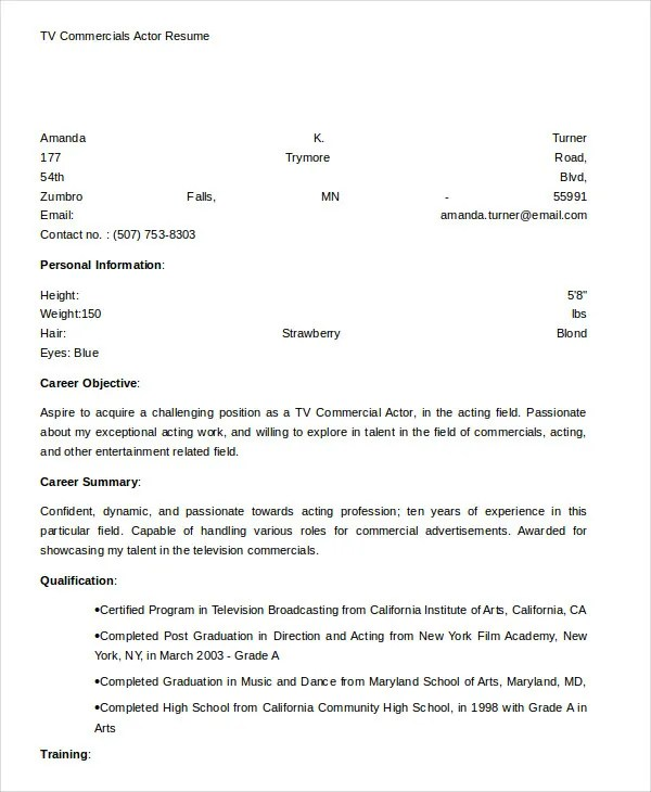 10+ Actor Resume Examples - PDF, DOC Free  Premium Templates - resume for acting