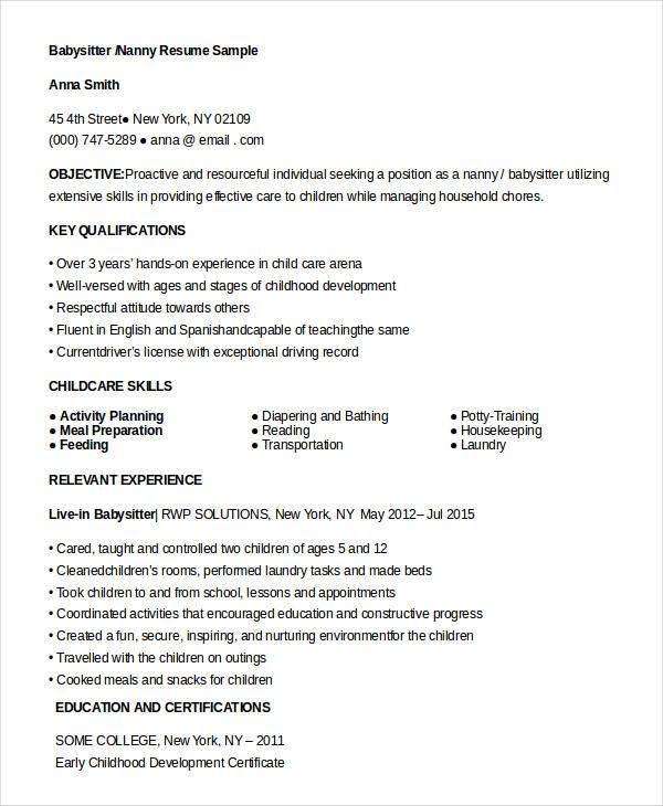 nanny resume sample qualifications