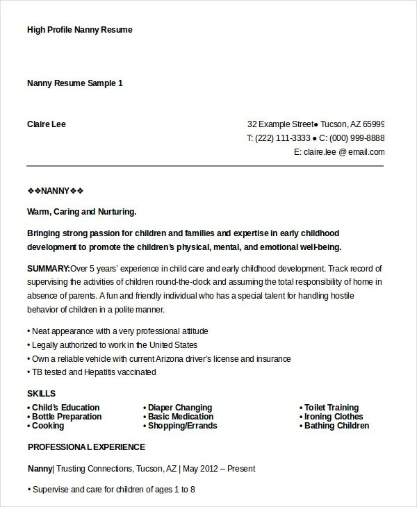 Nanny Resume Template  Resume Template And Professional Resume