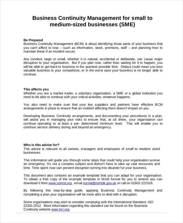 Free Business Continuity Plan Template Inoni Business Continuity Plan 9 Free Pdf Word Download