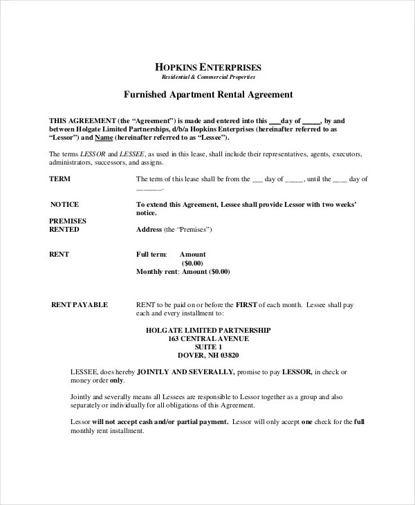 ... Apartment Lease Agreement   9+ Free PDF, Word Download Documents   Apartment  Lease Agreement