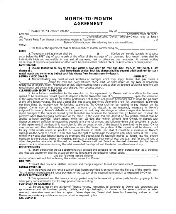 Apartment Lease Agreement - 9+ Free PDF, Word Download Documents - month to month lease agreement example