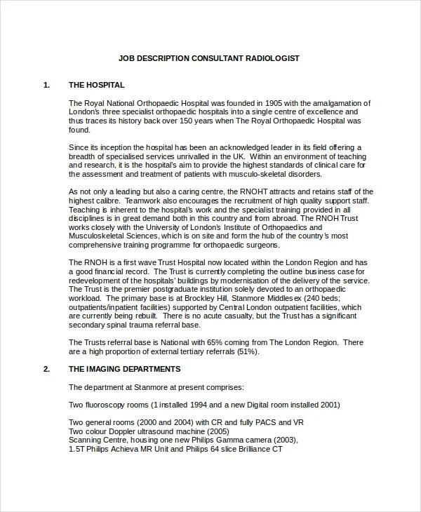 10+ Radiologist Job Description Templates - PDF, DOC Free