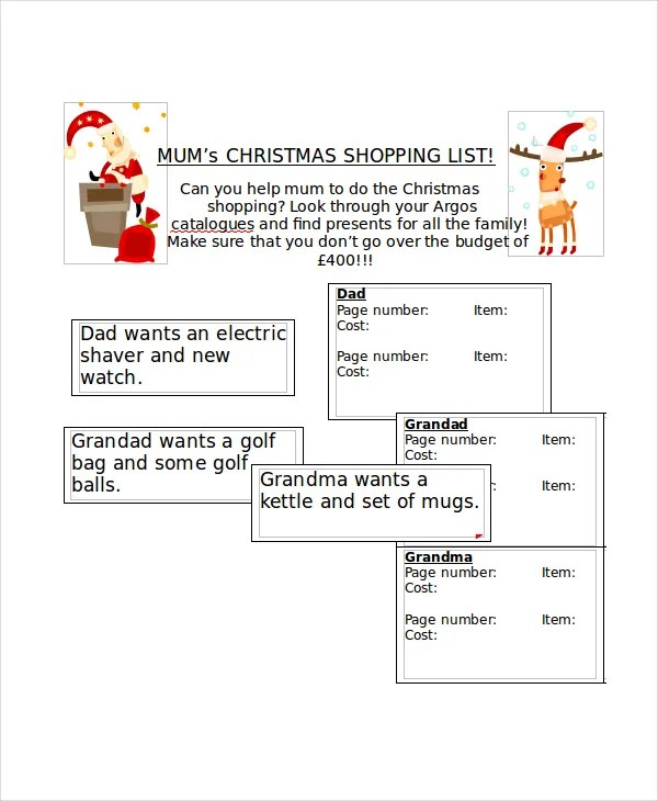 Christmas List Template - 10+ Free PDF, Word Documents Download - christmas list template free