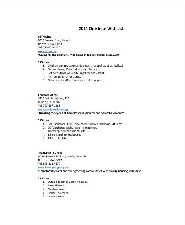 Christmas List Template - 10+ Free PDF, Word Documents Download