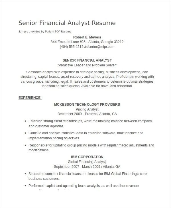 Financial Analyst Resume - 10+ PDF, Word Documents Download Free