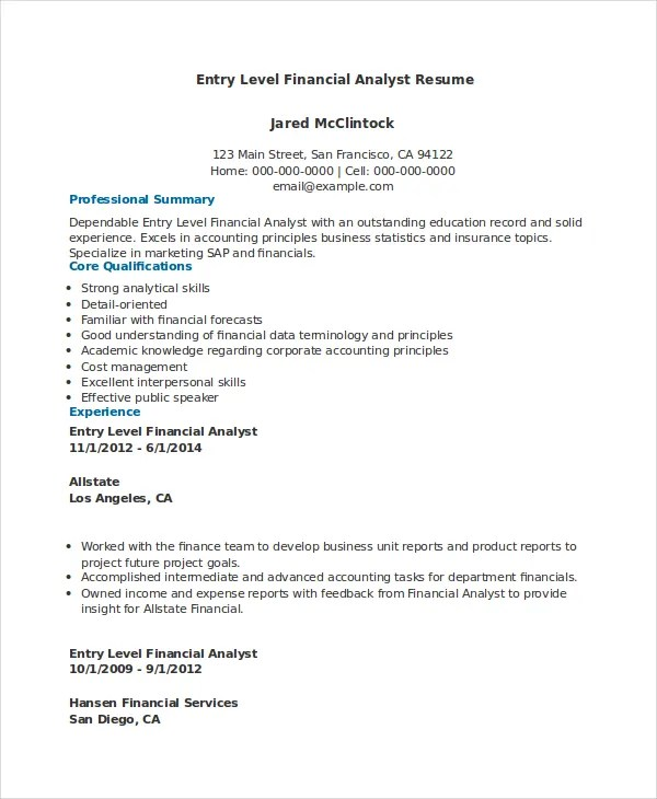 Financial Analyst Resume - 10+ PDF, Word Documents Download Free - financial data analyst resume