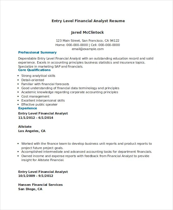 finance resume sample entry level