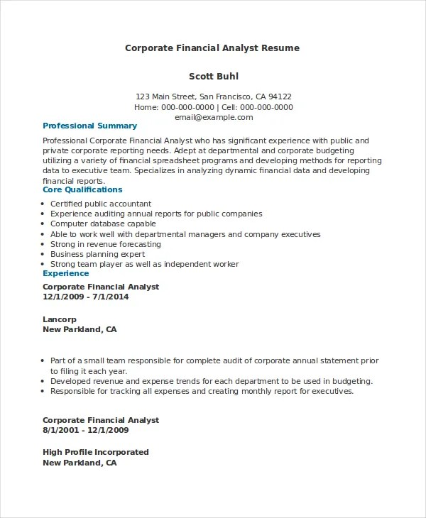 Financial Analyst Resume - 10+ PDF, Word Documents Download Free - sample financial analyst resume