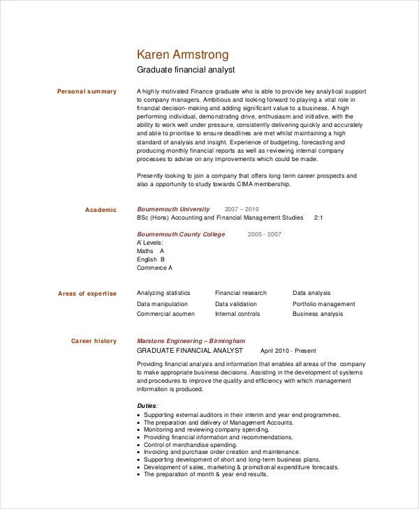 Financial Analyst Resumes Business Analyst Resume Example Sample - sample financial analyst resume