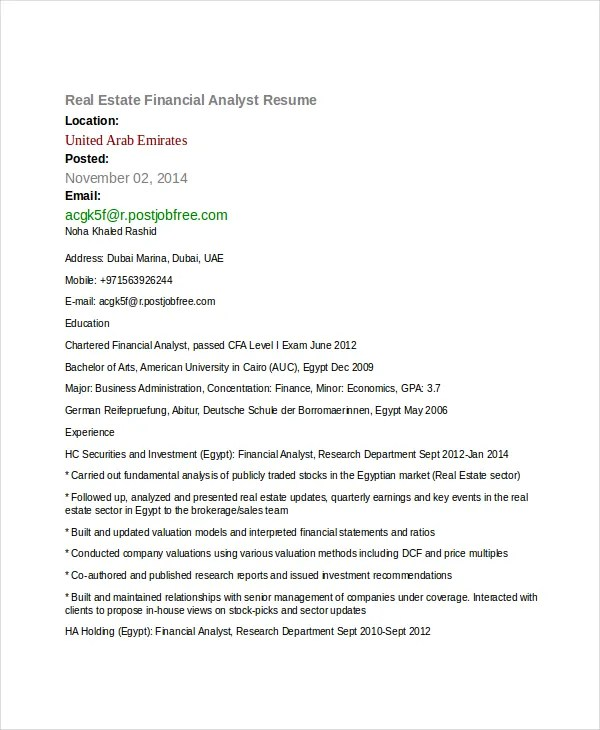 Financial Analyst Resume - 10+ PDF, Word Documents Download Free - Investment Analyst Resume