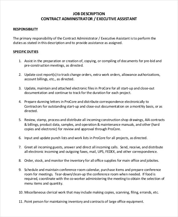 Administrator Job Description Example - 14+ Free Word, PDF Documents - administrator job description