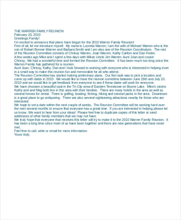 13+ Letter of Introduction Examples - PDF, DOC Free  Premium - family reunion letter templates