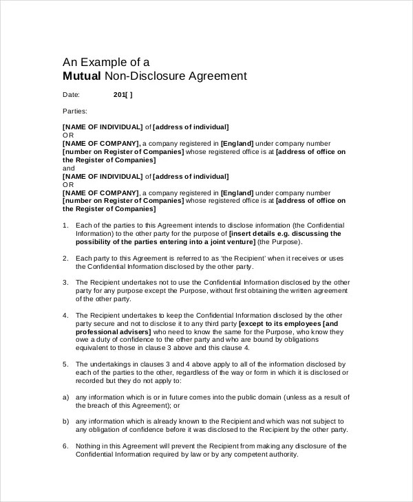 Confidentiality Agreement Template - 12+ Free PDF, Word Download