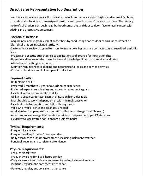Purchasing Officer Job Description Template - direct sales resume