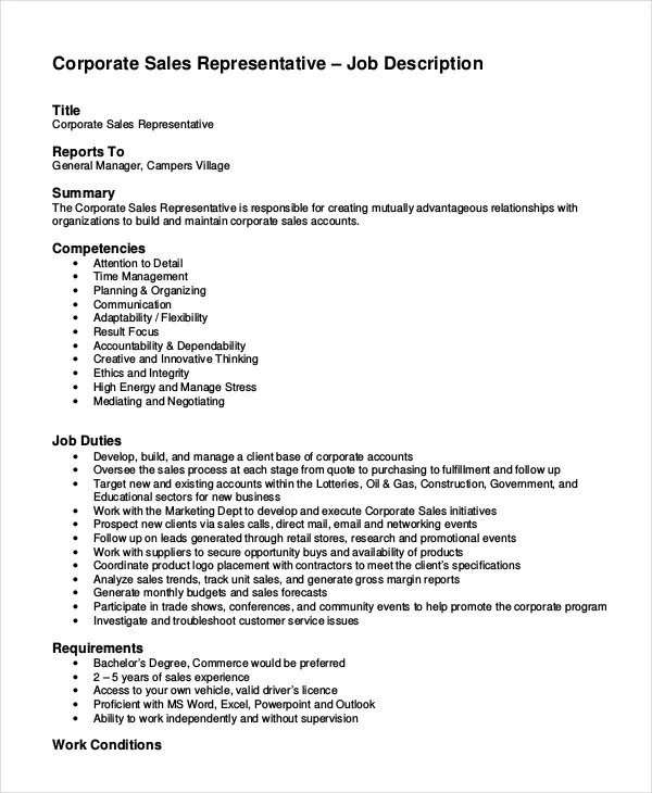 Sales Job Description - 11+ Free Sample, Example, Format Free - job description templates