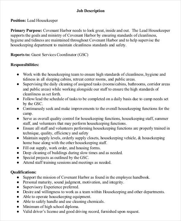 Housekeeper Job Description Example - 14+ Free Word, PDF Documents - housekeeper job duties