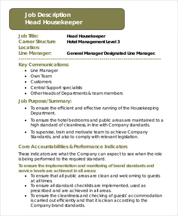 Housekeeper Job Description Example - 14+ Free Word, PDF Documents - housekeeping job description