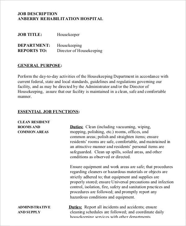 job description template word doc