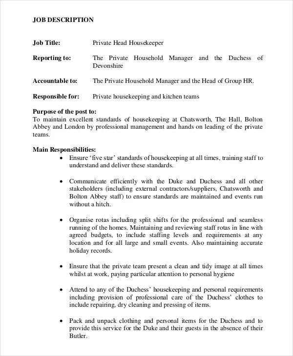 housekeeper duties - Trisamoorddiner