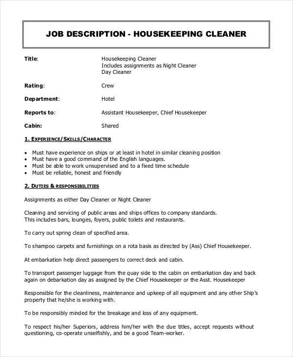 housekeeping manager job description
