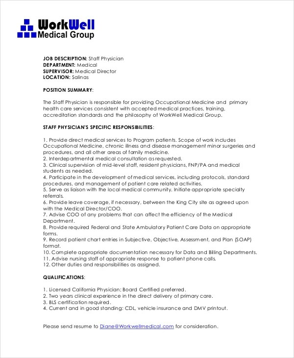 Physician Job Description - Free Sample, Example, Format Free - Good Job Qualifications