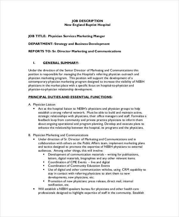Physician Job Description - Free Sample, Example, Format Free