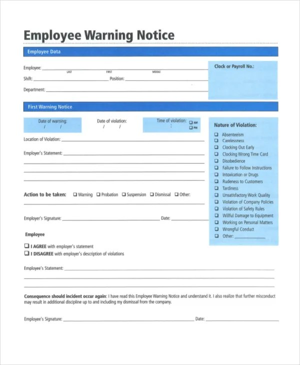 Employee Warning Notice - 11+ Free Word, PDF Documents Download