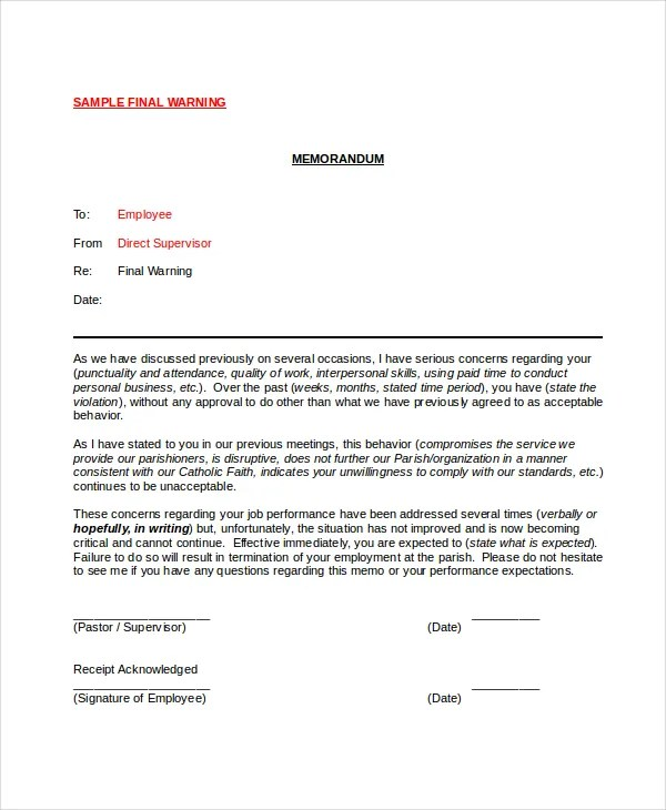 Employee Warning Notice - 11+ Free Word, PDF Documents Download - writing warning letter for employee conduct