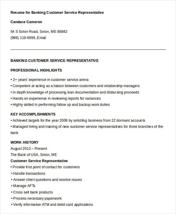 Customer Service Representative Resume - 9+ Free Sample, Example - Resume Of A Customer Service Representative