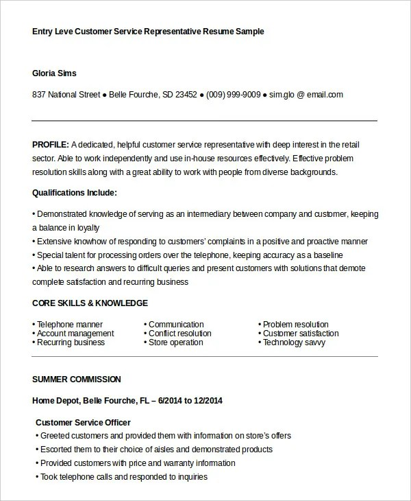 Customer Service Representative Resume - 9+ Free Sample, Example - home depot resume