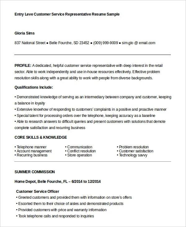 Customer Service Representative Resume - 9+ Free Sample, Example - entry level customer service resume sample