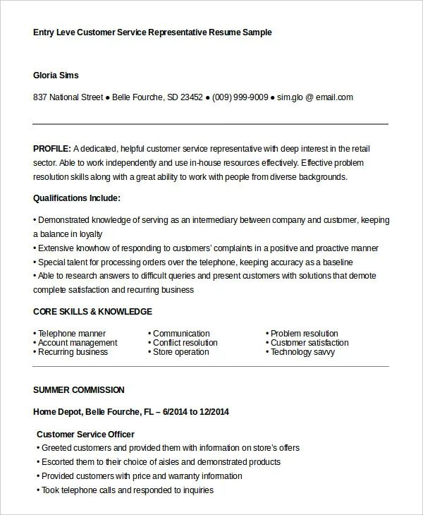 insurance customer service resume example