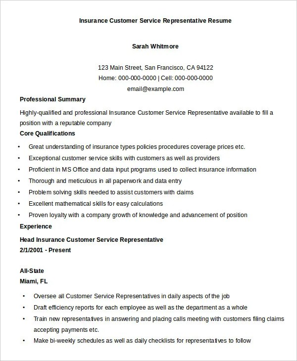 resume for insurance customer service representative - Onwe - Customer Services Resume